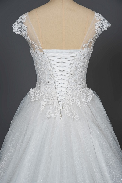 CPH245 Elegant Cap Sleeve Sheer Tulle Lace V-neck Ball Gown Wedding Dress_4