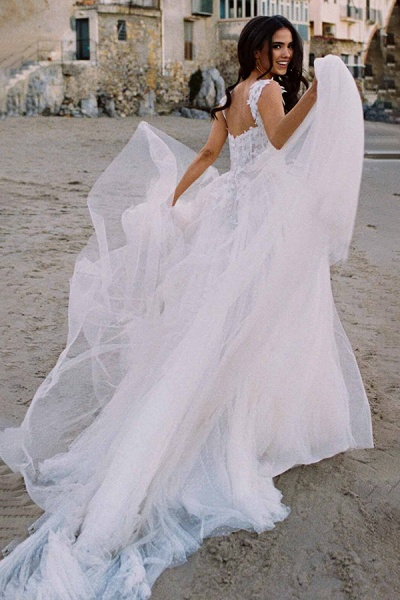 BC5754 Delicate Lace Straps Sweetheart Tulle A-line Boho Wedding Dress_3