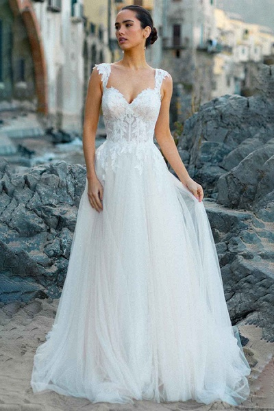 BC5754 Delicate Lace Straps Sweetheart Tulle A-line Boho Wedding Dress_4