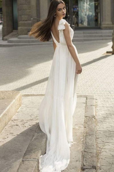 BC5744 Chiffon Bow Straps V-neck Sheath Wedding Dress_3