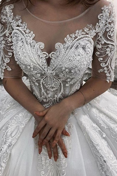 BC5662 Short Sleeve Appliques Sheer Tulle Ball Gown Wedding Dress_2