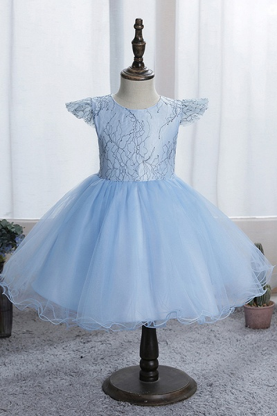 FS9974 Scoop Cap Sleeve Blue Flower Girl Dress