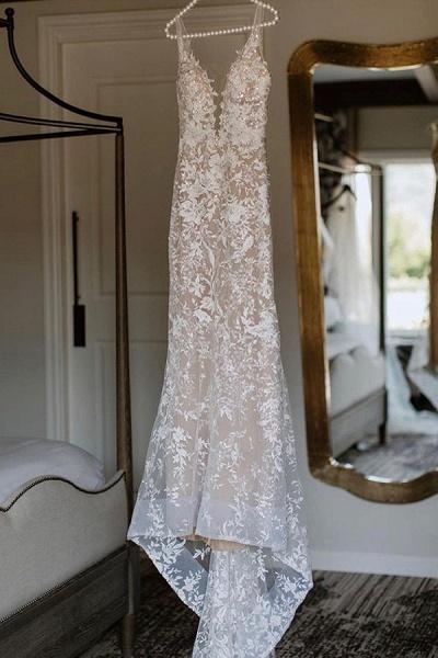 BC5801 Mermaid Spaghetti Straps Lace V-neck Jewel Wedding Dress_8