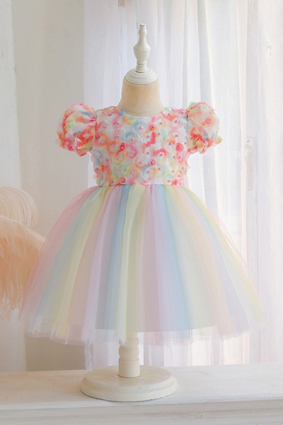 FS9968 Scoop Short Sleeve Ball Gown Flower Girl Dress With Bow_1