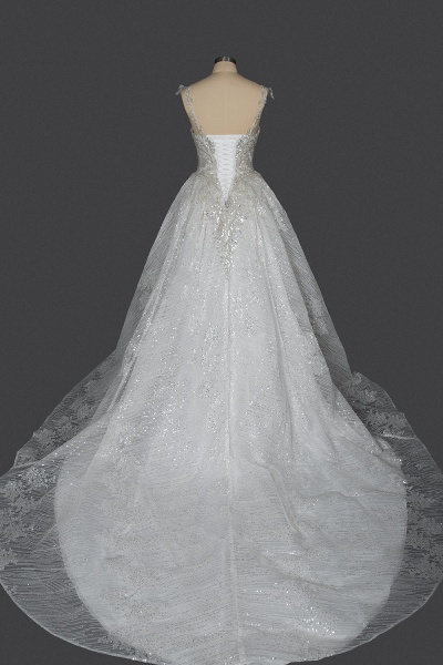 CPH249 Straps Sequins Sweetheart Pleated Ball Gown Wedding Dress_2