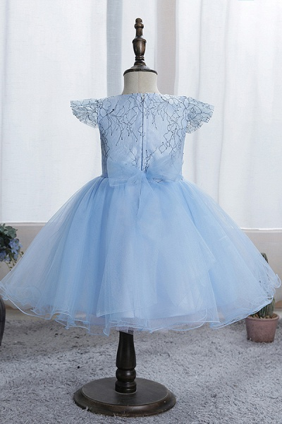 FS9974 Scoop Cap Sleeve Blue Flower Girl Dress_7