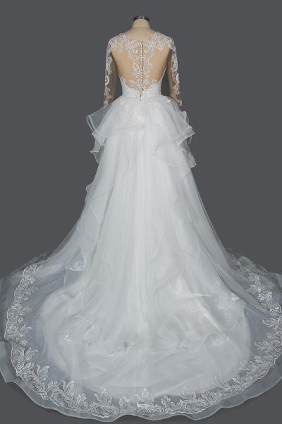CPH246 Lace Long Sleeve Appliques Ruffles Ball Gown Wedding Dress_15