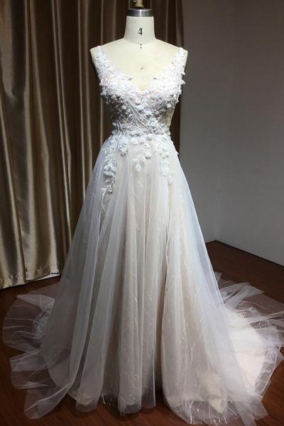 CPH235 Straps Floral Appliques A-line Side Split Backless Wedding Dress_1