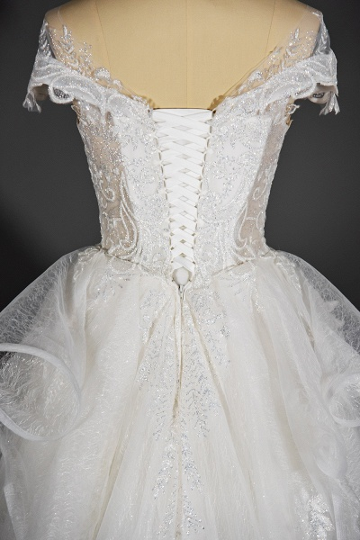 CPH250 Luxury Sequins Appliques Tulle Ruffles Ball Gown Wedding Dress_7