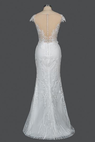 CPH248 Gergrous Lace Cap Sleeve Sheath Wedding Dress With Detachable Train_5