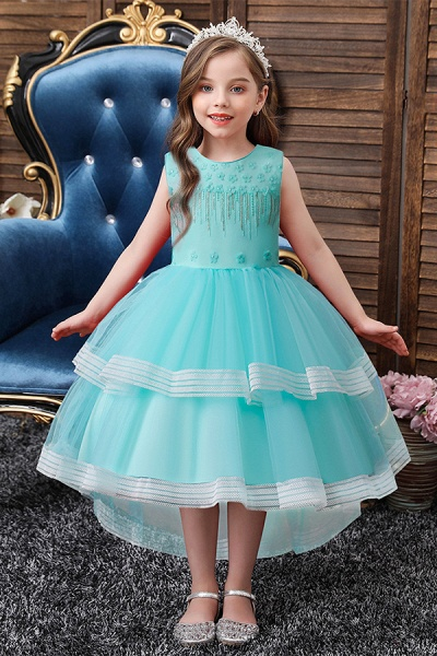FS9972 Blue Ball Gown Tea Length Flower girl Dress