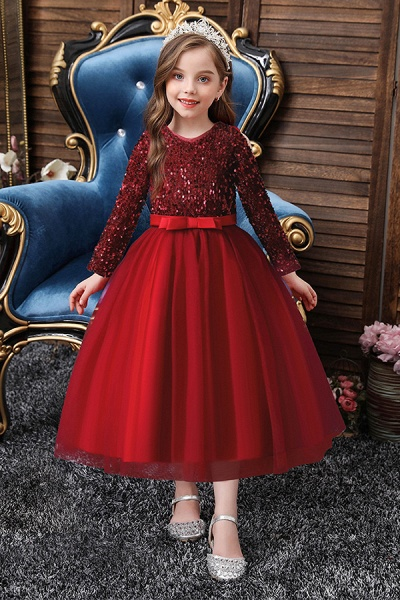 FS9973 Long Sleeve Sequins Burgundy Flower Girl Dress