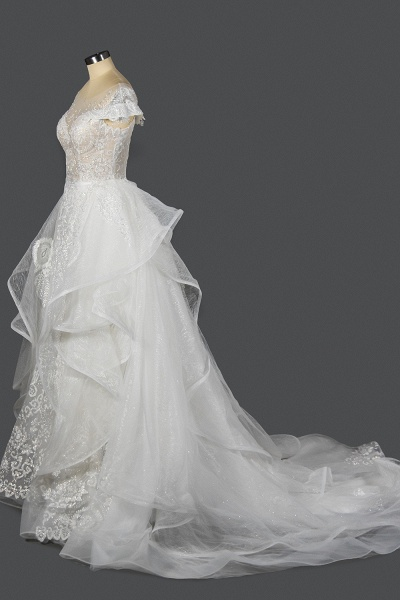CPH250 Luxury Sequins Appliques Tulle Ruffles Ball Gown Wedding Dress_4