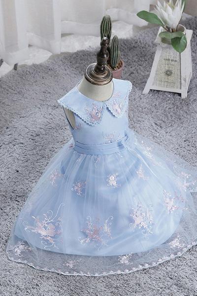 FS9976 Blue Appliques Tulle Knee Length Flower Gril Dress_8