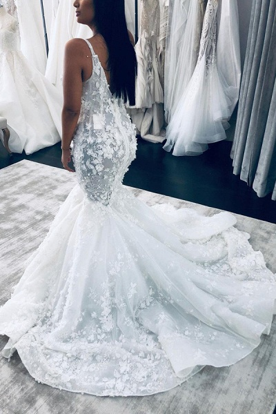 BC5804 Floral Beaings Straps Mermaid V-neck Wedding Dress_2