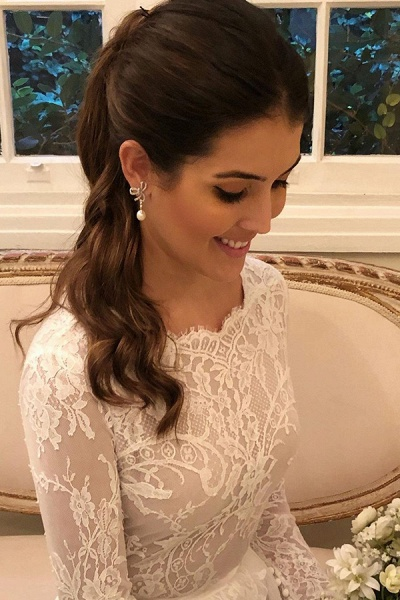 BC5805 Scoop Lace Long Sleeve A-line Wedding Dress_2