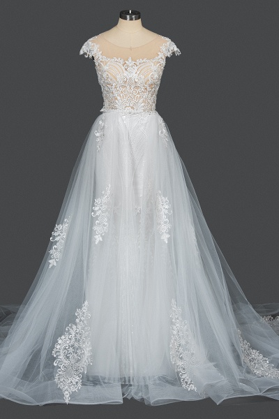CPH248 Gergrous Lace Cap Sleeve Sheath Wedding Dress With Detachable Train_13