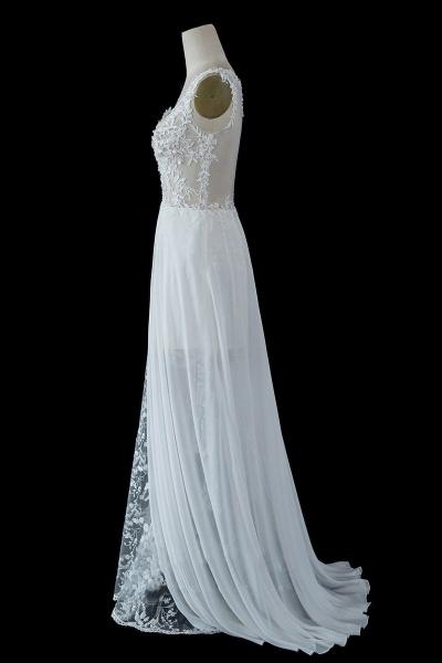 BC5671 Straps Lace Side Split Sheer Tulle A-line Wedding Dress_2