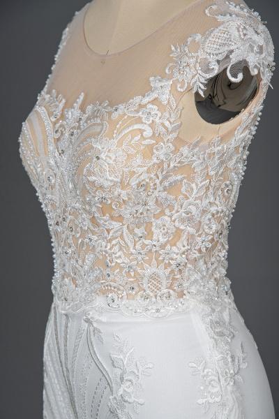 CPH248 Gergrous Lace Cap Sleeve Sheath Wedding Dress With Detachable Train_11