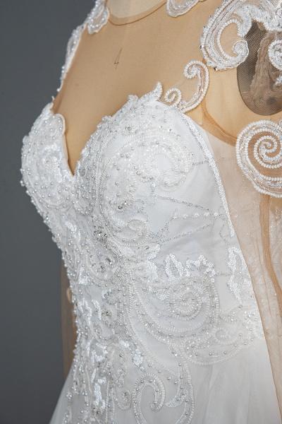 CPH246 Lace Long Sleeve Appliques Ruffles Ball Gown Wedding Dress_6