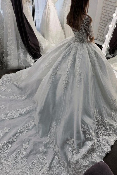 BC5662 Short Sleeve Appliques Sheer Tulle Ball Gown Wedding Dress_3