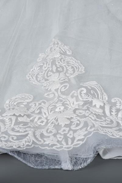CPH245 Elegant Cap Sleeve Sheer Tulle Lace V-neck Ball Gown Wedding Dress_8