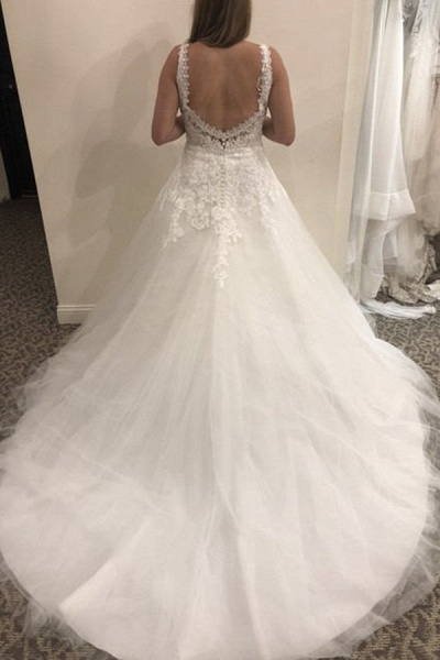 BC5798 Simple Lace Tulle V-neck A-line Backless Wedding Dress_2