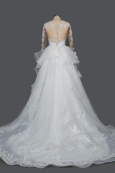 CPH246 Lace Long Sleeve Appliques Ruffles Ball Gown Wedding Dress_2