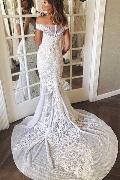 BC5669 Mermaid Off The Shoulder Appliques Sweep Train Wedding Dress_4