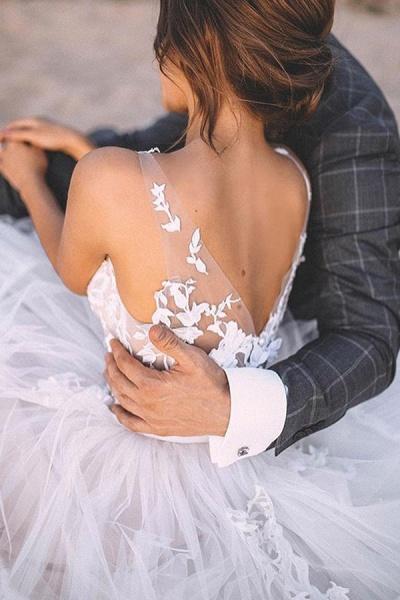 BC5667 Straps Lace V-neck Sheer A-line Boho Wedding Dress_4