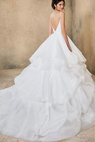 BC5737 Spaghetti Straps V-neck Backless A-line Ruffles Tulle Wedding Dress_8