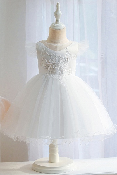 FS9965 Pink Floral Appliques Ball Gown Flower Girl Dress_1