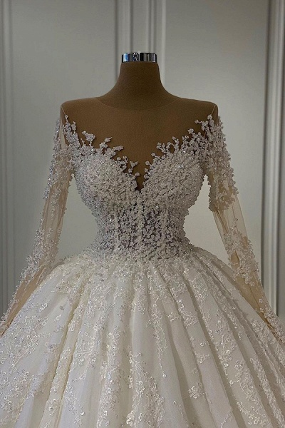 BC5665 Gorgeous Lace Long Sleeve Beads Ball Gown Wedding Dress_2