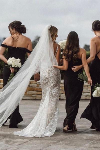 BC5801 Mermaid Spaghetti Straps Lace V-neck Jewel Wedding Dress_6