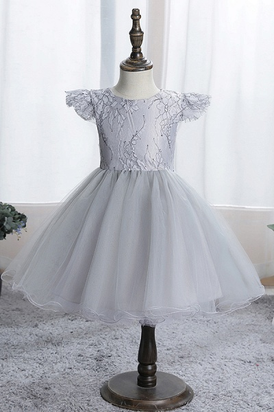 FS9974 Scoop Cap Sleeve Blue Flower Girl Dress_4