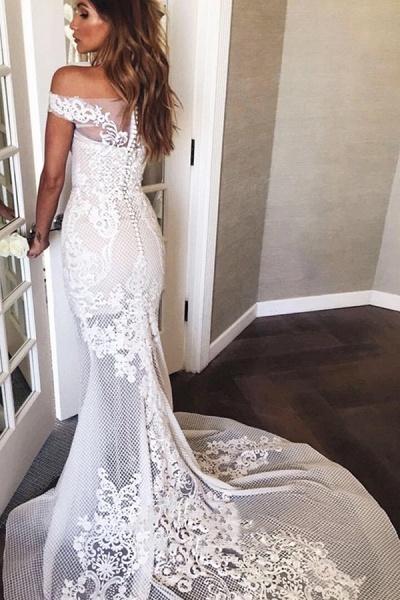BC5669 Mermaid Off The Shoulder Appliques Sweep Train Wedding Dress_2