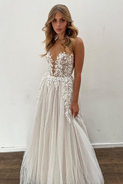 BC5802 Gorgeous Sheer Tulle Appliques A-line Floor Length Wedding Dress_3