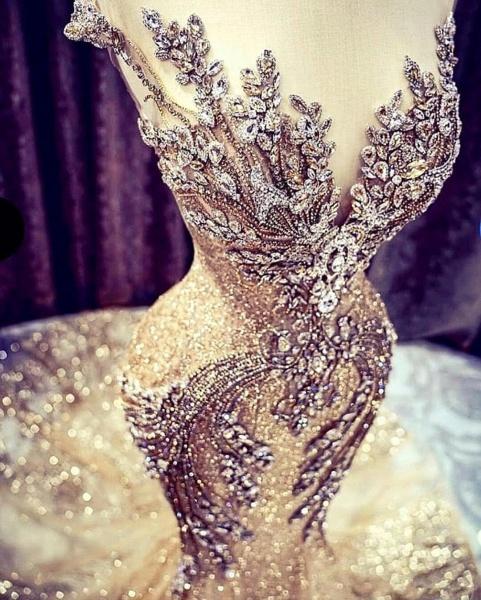 Luxury Beadings Crystal Cap Sleeve Mermaid Prom Dress_2