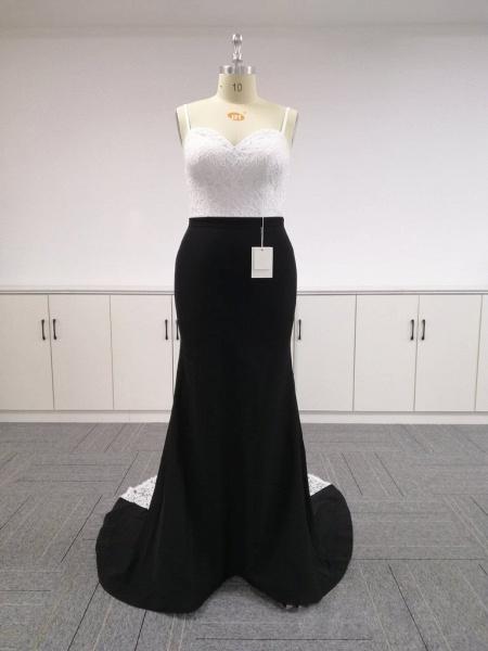 BA4780 Spaghetti Straps Mermaid Lace Satin Bridesmaid Dress_3