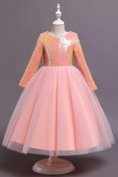 FS9969 Long Sleeve Sequins Tea Length Flower Girl Dress_2