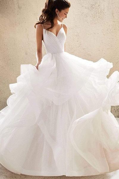 BC5737 Spaghetti Straps V-neck Backless A-line Ruffles Tulle Wedding Dress_7