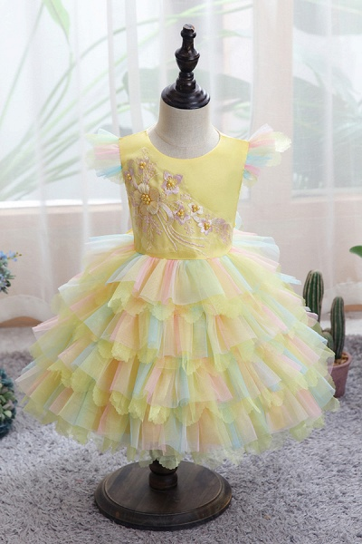FS9971 Yellow Tulle Ruffles Ball Gown Wedding Dress