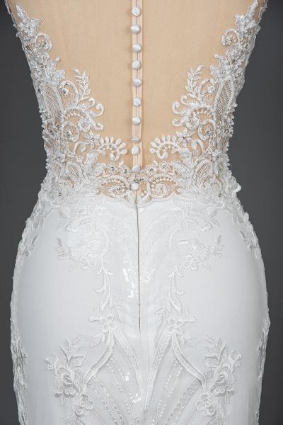 CPH248 Gergrous Lace Cap Sleeve Sheath Wedding Dress With Detachable Train_9