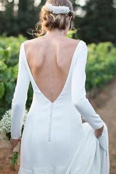 BC5745 Simple Scoop Long Sleeve Backless Sheath Wedding Dress_2