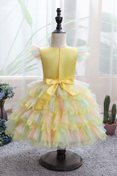 FS9971 Yellow Tulle Ruffles Ball Gown Wedding Dress_5