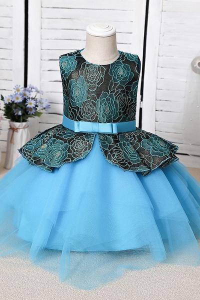FS9964 Ball Gown Scoop Appliques Flower Girl Dress_4