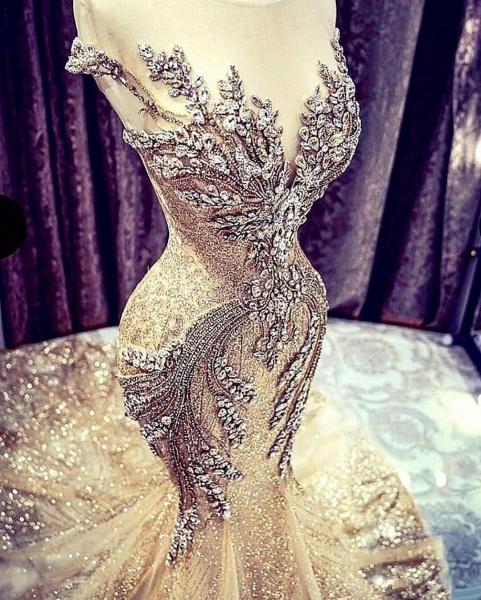 Luxury Beadings Crystal Cap Sleeve Mermaid Prom Dress_4