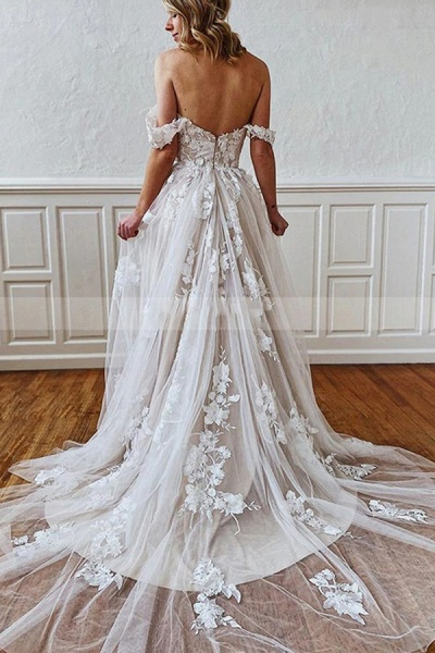 BC5743 Straps Sweetheart Appliques A-line Wedding Dress_2