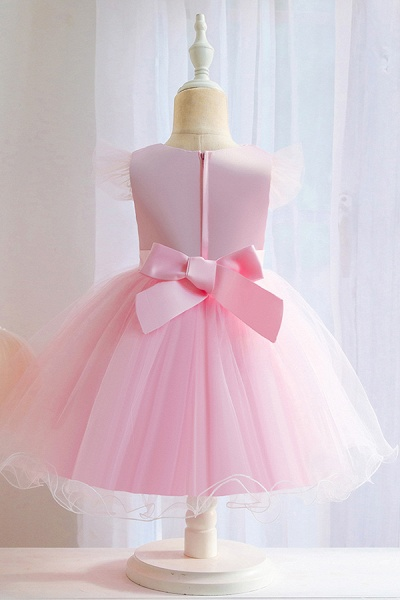 FS9965 Pink Floral Appliques Ball Gown Flower Girl Dress_6