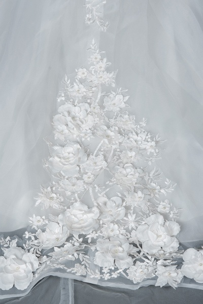 CPH251 Floral Appliques Cap Sleeve Jewel Ball Gown Wedding Dress_4